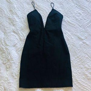 Nasty Gal Wire Plunge Black Dress